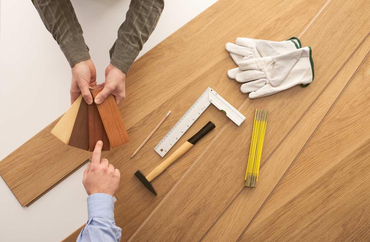 Flooring contractor showing hardwood flooring color options